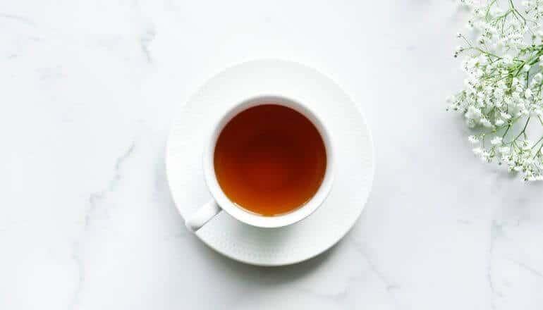 black tea white cup