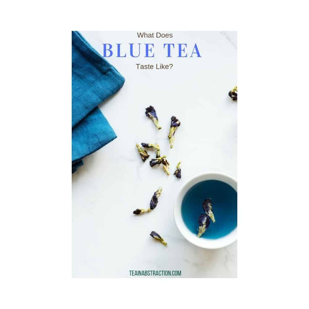 cup of blue tea on table
