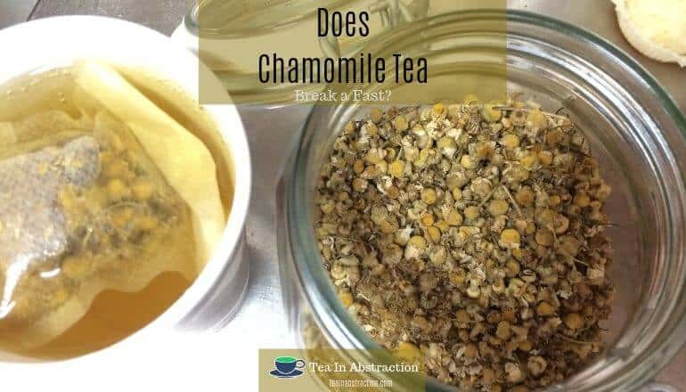 chamomile tea steeping next to an open jar