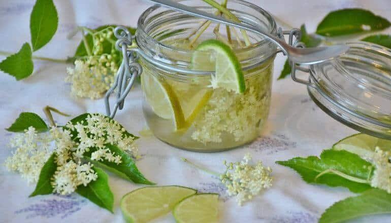 Elderflower Syrup in glass jar