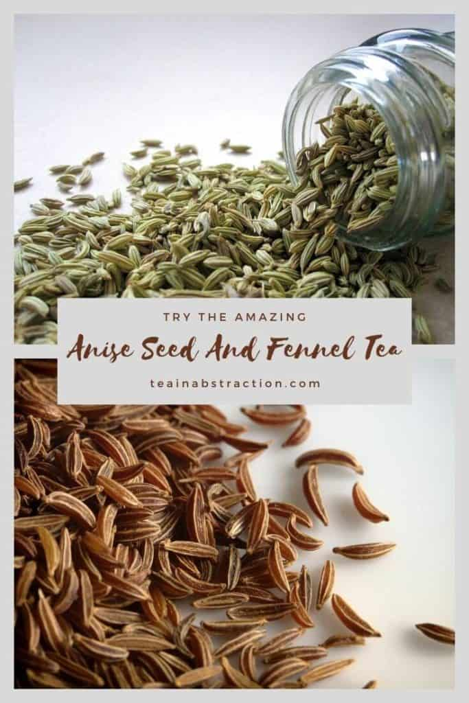 spilled fennel seeds and anise seeds in a pinterest composite image