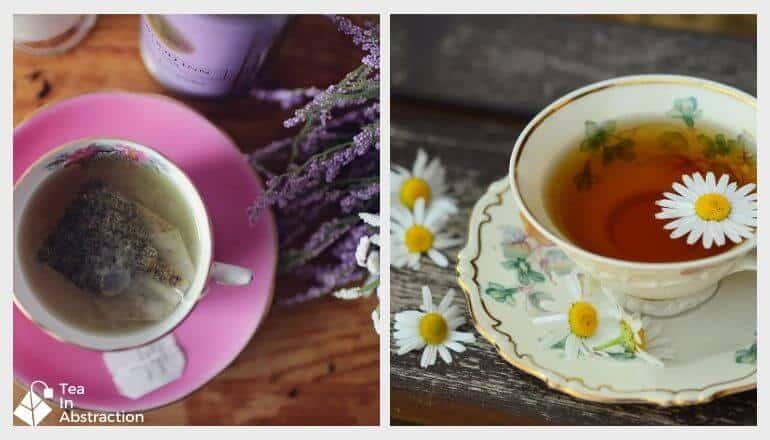 cup of lavender tea and chamomile tea