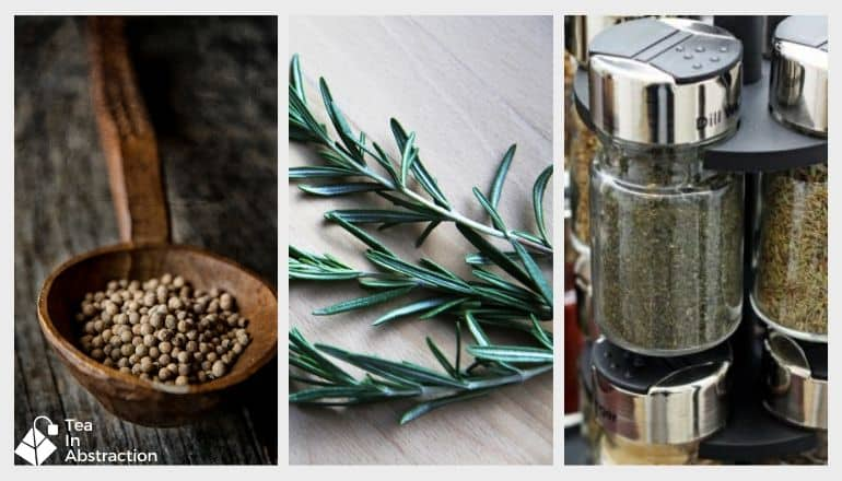 black peppercorns, fresh rosemary and a spice bottle of dill weed in a composite image