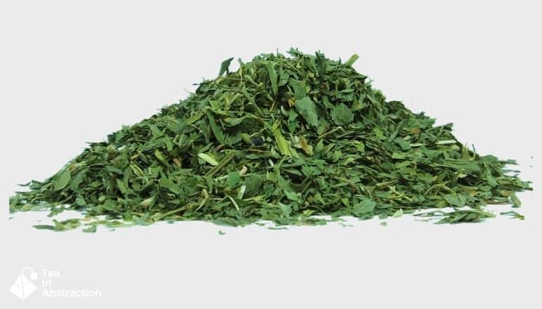 pile of dried alfalfa leaf for use in tea making