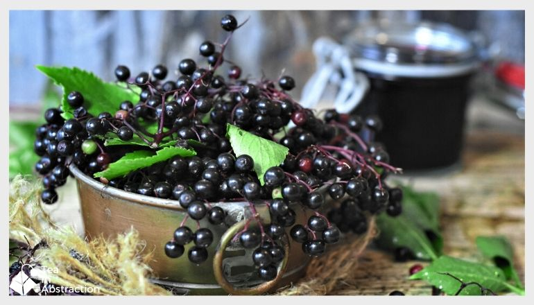 elderberries ina tin pot on a table with elderberry juice in the background