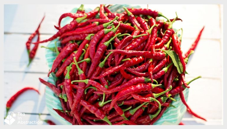 bowl of red cayenne peppers