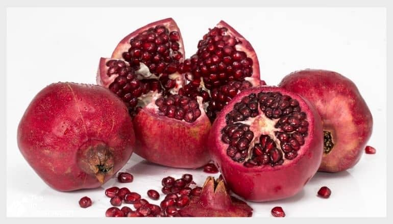 pomegranate fruit cut open exposing the seeds