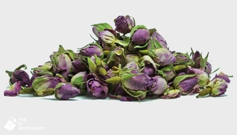 dried pink roses bulbs and petals used for tea