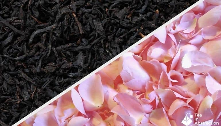 composite image of rose petals and black tea leaves