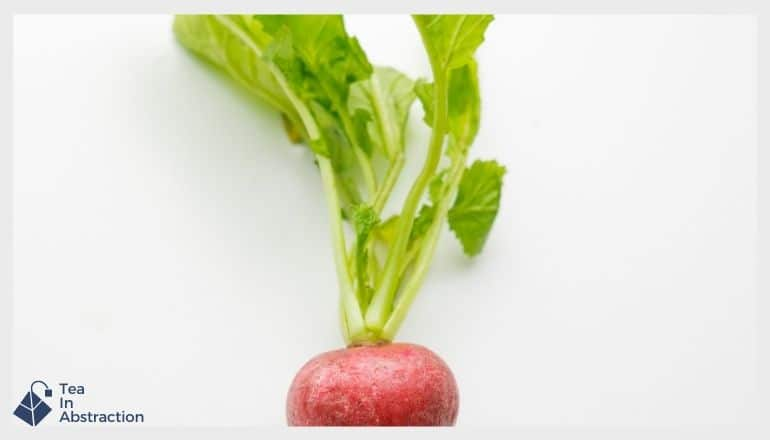 radish with greens still attached on a white table