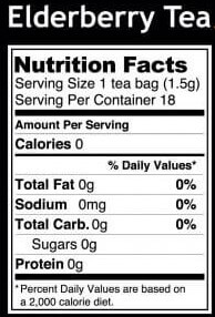 nutritional info for elderberry tea