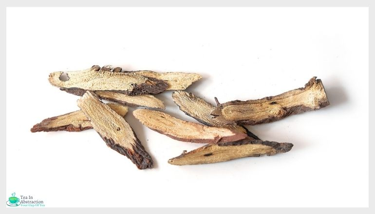 licorice root against a white background